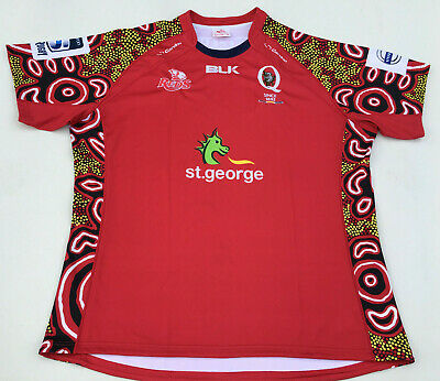 Queensland Reds Jersey Super Rugby Union Mens Size 7XL BLK Indigenous