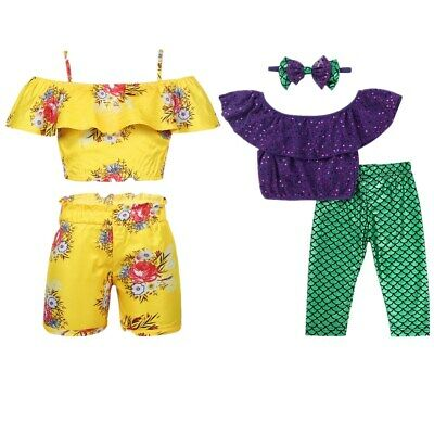 Kids Baby Girls Mermaid Outfits Summer Clothes Summer Tops Romper+Shorts Set