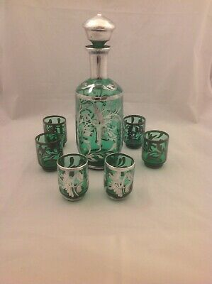 Antique Vintage Silver Overlay Emerald Green Petite Decanter & 6 Glass Set