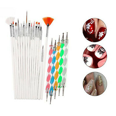 20Pcs Gel Nail Art Design Set Painting Dotting Detailing Drawing Pen Brush Tools