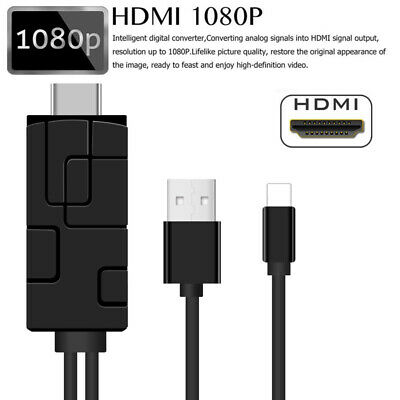 For iPhone Screen To TV Cable HDMI 1080p IOS Adapter USB Charger Converter