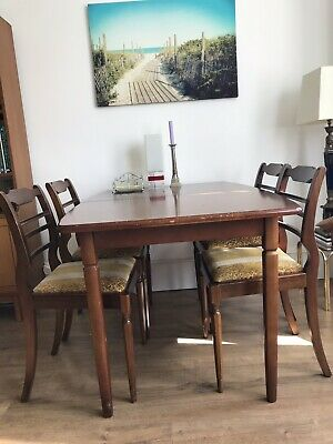 Shabby chic retro vintage table set with 4 chairs
