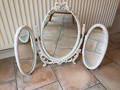 Vintage French Louis Style Wooden Dressing Table Triple Mirror White Shabby Chic