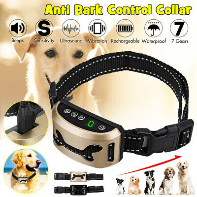 Waterproof Anti-Bark Control Collar LCD 7 Gears Sensitivity USB Rechargeable Dog