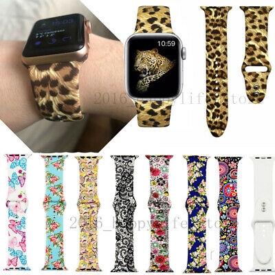 Printed Silicone Strap for Apple Watch 38mm/40mm 42mm/44mm Sport band Wristband