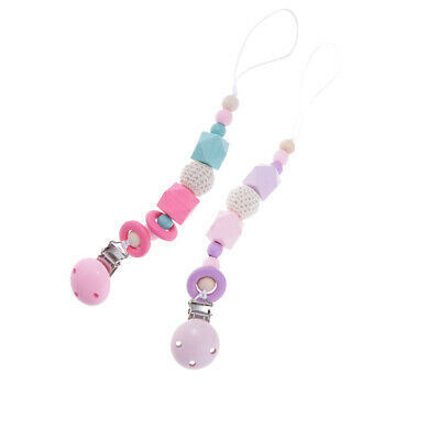 2pcs Wooden Pacifier Dummy Clip Chain BPA Free Silicone Teething Beads Gift