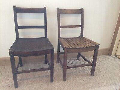 Pair Of Country Oak Chairs With Modified Seats