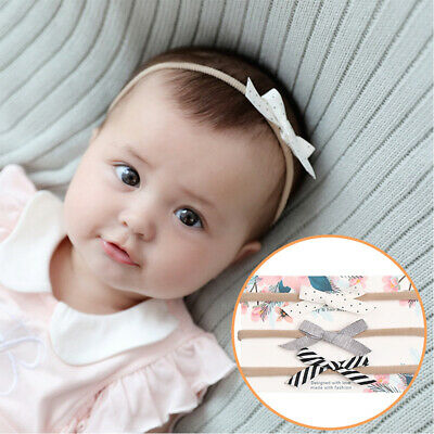 3Pcs/set Baby Solid Nylon Elastic Headband Dot Flower Printed Striped Hairbands