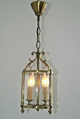 Antique French Brass Round Glass Decorative Hall Lantern 2 Candle Lights 1251