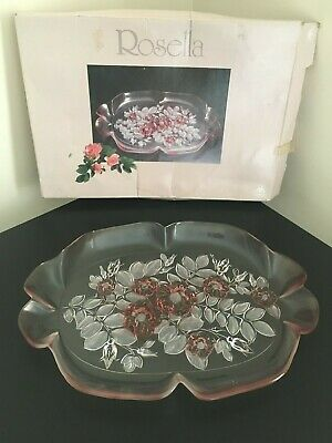 Mikasa 'Rosella' Walther Glas Clear & Pink Frosted Floral Ruffled Glass Tray