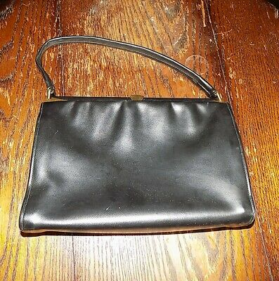 Vintage 1960's 'Mac' Black Vinyl Hand Bag