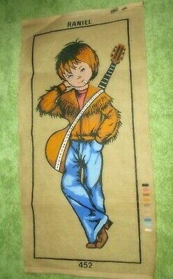RANIEL 7Oies HIPPIE BOY WITH GUITAR PRINTED TAPESTRY CANVAS NEEDLEPOINT 53X23 cm