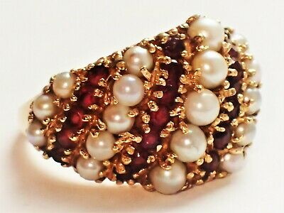 BRUTALIST MCM Mid Century GARNET PEARL DOME Ring Heavy! 14K Cocktail 1960 Estate