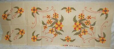 Beautiful Yellow Orange Flowers Table Runner Printed Tapestry Canvas + 2 Doilies