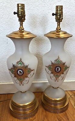 Antique 19th Century Lamps Opaline Glass and Brass Set of 2     MM0497