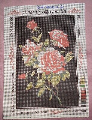 GOBELIN BOUQUET OF WHITE RED ROSES PRINTED TAPESTRY CANVAS NEEDLEPOINT 18X28 cm