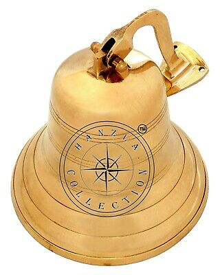 "Polished Brass Maritime Titanic Ship Bell 7"" Wall Hanging Nautical Boat Decor"