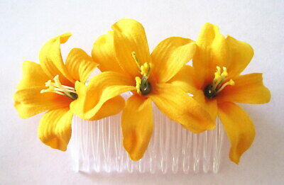 Triple Yellow Lily Silk Flower Hair Comb,Pinup,Updo,Rockabilly,Bridal