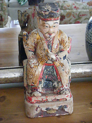 Ancestral Chinese Polychrome Wood Carving Figure, Antique Chinese Carving