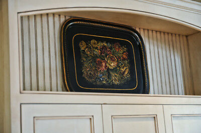 Antique French Tole Tray, Large 19th C Antique Toleware Tray with Provenance