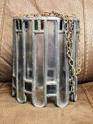Old Leaded & Stained Glass Cylindrical Lamp Shade Light Fitting On A Chain