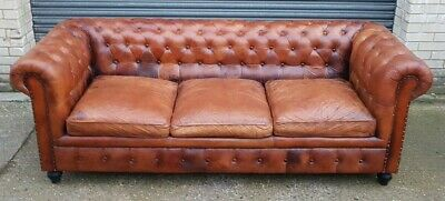 Brown Chesterfield Three Seater Sofa, Ref: 18