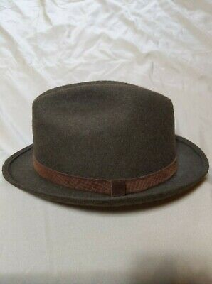 6ded110528eb3 VINTAGE PENDLETON FEDORA hat 100% Virgin Wool USA Men s Solid Gray ...