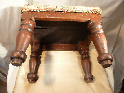"Antique Mahogany Foot Stool Turned Legs & Upholstered Seat 12.5"" x 9.25"""