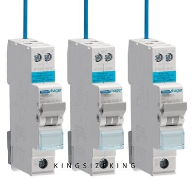 Hager Reduced Sized RCBO 6kA B Curve Type A, 30mA, 6A 10A 16A 20A 25A 32A