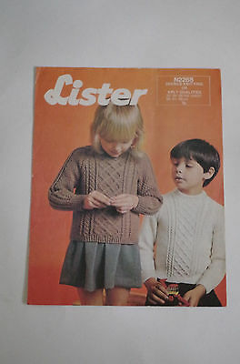 "Vintage Lister DK or 4 Ply Knitting Pattern Child's Aran Sweater  22""-26"" N2268"