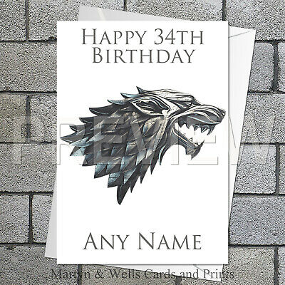 Game of Thrones personalised birthday card. 5x7 inches. House Stark sigil.