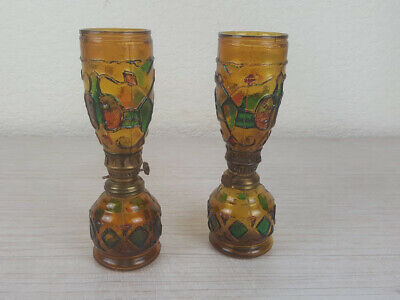 2 Vintage Amber Glass Hand Painted Oil Lamps Burners Unique Quirky Rustic Decor