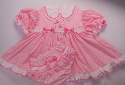 Adult Baby Sissy Littles Pink Ducky Gingham DOUBLE CUTIE COLLAR Dress Set