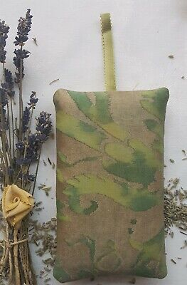"Fortuny Lavender Pillow Sachet ""Demedici"" Shades of Green & Gold 5 1/2  x 3 1/4"""