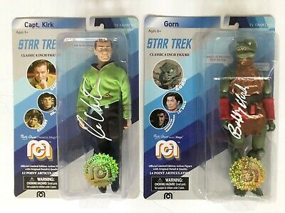 William Shatner & Bobby Clark Signed Star Trek Mego Figures-Kirk & The Gorn-JSA