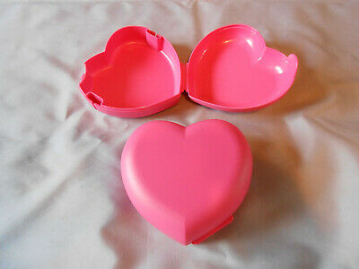 Tupperware 2 pink heart shaped keepers packable snack containers crafts storage