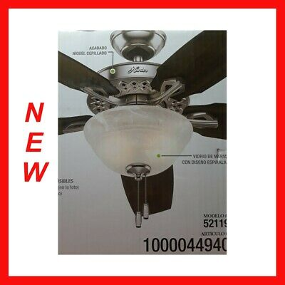 """Hunter Heathrow 52"""" Indoor Brushed Nickel Ceiling Fan with LED Light Kit WH"""