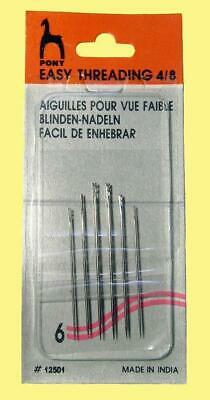 6 Easy Thread Needles Size 4-8 Sewing Embroidery Quilting Patchwork