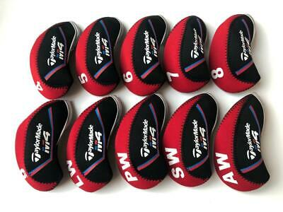 10PCS Protective Iron Covers for Taylormade M4 Club Headcovers 4-LW Red&Black