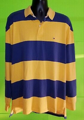 bb7dbc21b13 Vtg Tommy Hilfiger Men's 90s Striped Rugby LS Polo Shirt Navy/Yellow - sz  2XL