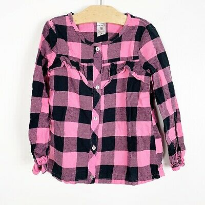 Carters Toddler Girls Long Sleeve Pink Black Buffalo Plaid Button Down Size 5T