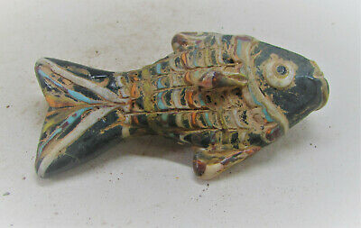 Ancient Phoenician Glass Mosaic Fish Amulet