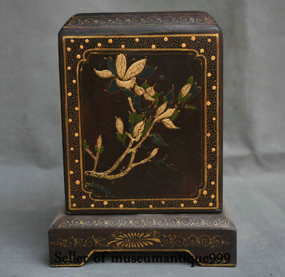 "8"" Ancient China lacquerware Wood Dynasty Flower Bird Official Seal Signet Box"