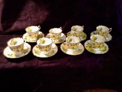 Royal Albert Yellow Tea Rose 8 Cup And Saucers 1# Quality England (24 Available)