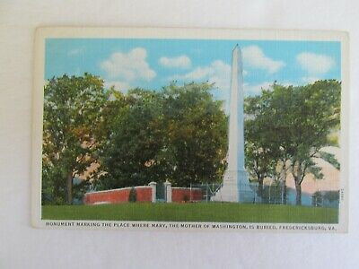 F664 vintage postcard Mary Mother Washingon Monument Fredericksburg VA Virginia