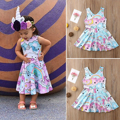 AU Toddler Baby Girl Clothes Newborn Kid Infant Party Unicorn Dress Summer Top W