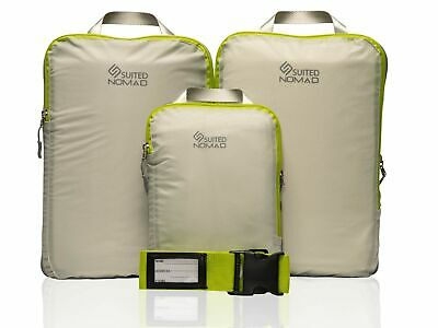 Compression Packing Cubes Set|Ultralight Travel Organizer Bags and Luggage Strap