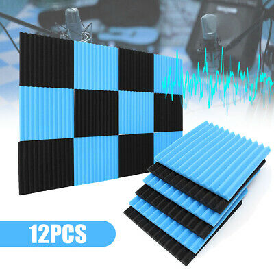 48PCS Studui Soundproofing Acoustic Wedge Foam Tiles Wall Panels Blue & Black