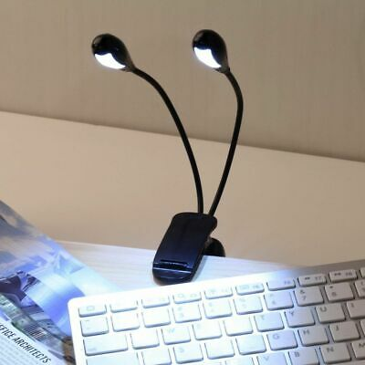 Two Dual Flexible Arms 4 LED Clip-on Light Lamp USB Piano Music Stand Book 3xAAA