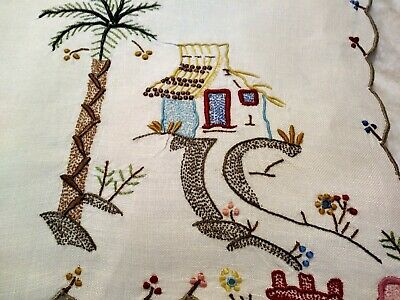 """Amazing Colorful Madeira Island Theme Embroidered 16"""" x 10.5"""" Linen Placemat #2"""